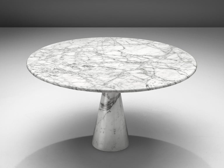 Mid-Century Modern Angelo Mangiarotti Round Marble Table For Sale