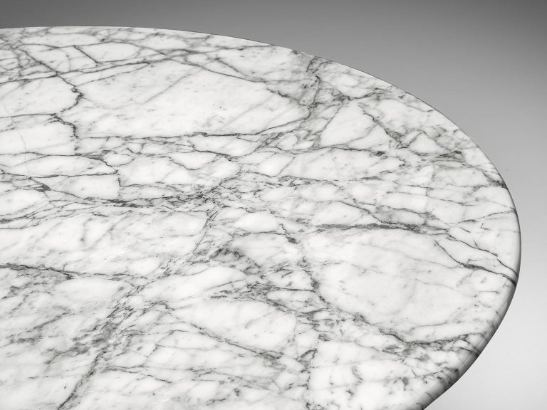 Late 20th Century Angelo Mangiarotti Round Marble Table For Sale