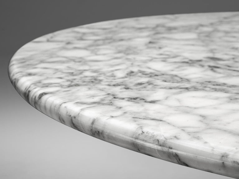 Carrara Marble Angelo Mangiarotti Round Marble Table For Sale