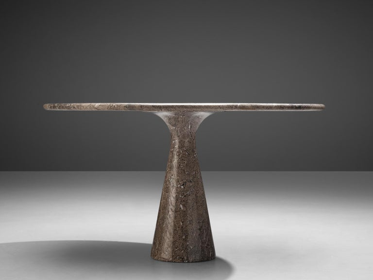 Italian Angelo Mangiarotti Round Pedestal Dining Table in Marble