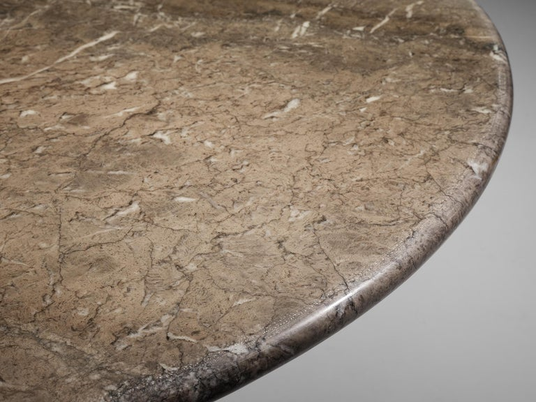 Late 20th Century Angelo Mangiarotti Round Pedestal Dining Table in Marble