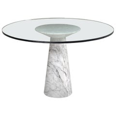 Angelo Mangiarotti Round Pedestal Dining Table, Marble and Glass, Italy, 1970
