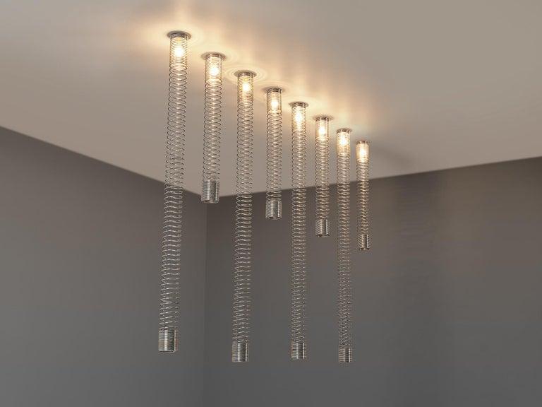 Mid-Century Modern Angelo Mangiarotti Set of Eight 'Spirali' Ceiling Lights For Sale