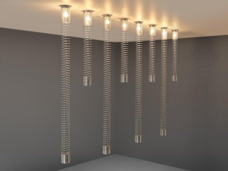 Italian Angelo Mangiarotti Set of Eight 'Spirali' Ceiling Lights For Sale