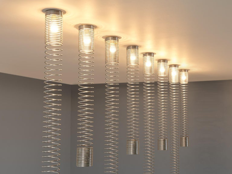 Angelo Mangiarotti Set of Eight 'Spirali' Ceiling Lights In Good Condition For Sale In Waalwijk, NL