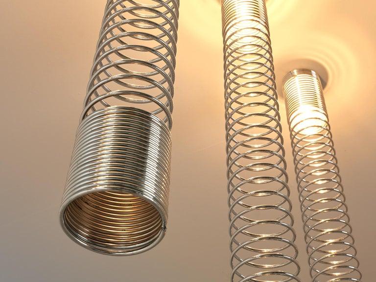 Chrome Angelo Mangiarotti Set of Eight 'Spirali' Ceiling Lights For Sale