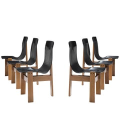 Angelo Mangiarotti Set of Six 'Tre 3' Chairs in Black Leather