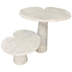 Angelo Mangiarotti Side Table Eros Series Skipper in Marble White, Label, 1970s