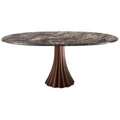 Angelo Mangiarotti Style Marble Table on Metallic Cast Base