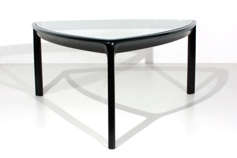 Italian Angelo Mangiarotti Table for Skipper Production in Wood and Glass, 1980s