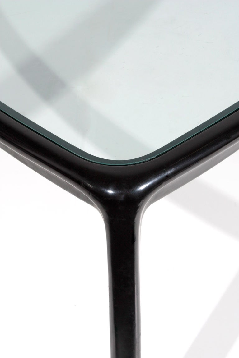 Angelo Mangiarotti Table for Skipper Production in Wood and Glass, 1980s In Good Condition In Milano, IT
