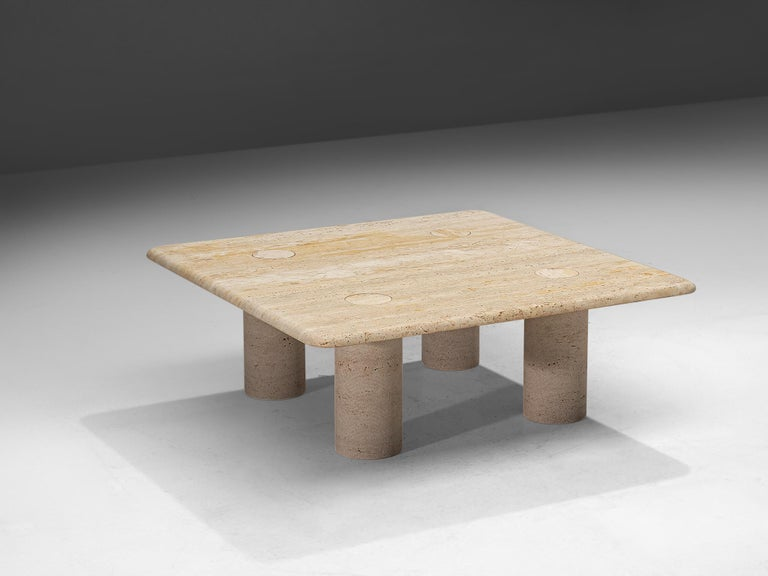 Angelo Mangiarotti for Up & Up, coffee table, travertine, Italy, 1970s.