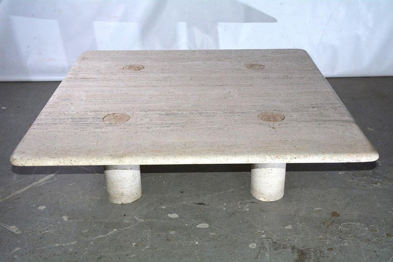 Modern Angelo Mangiarotti Travertine Coffee Table for Up&UP For Sale