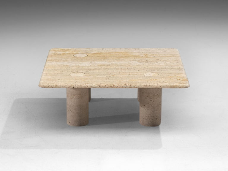 Post-Modern Angelo Mangiarotti Travertine Coffee Table for Up & Up For Sale