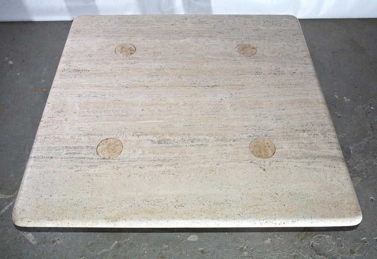 Italian Angelo Mangiarotti Travertine Coffee Table for Up&UP For Sale