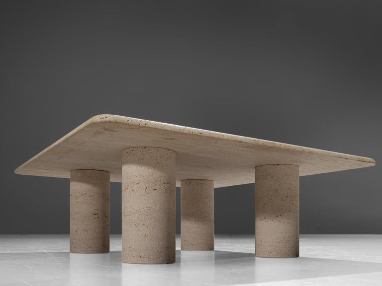 Italian Angelo Mangiarotti Travertine Coffee Table for Up & Up For Sale