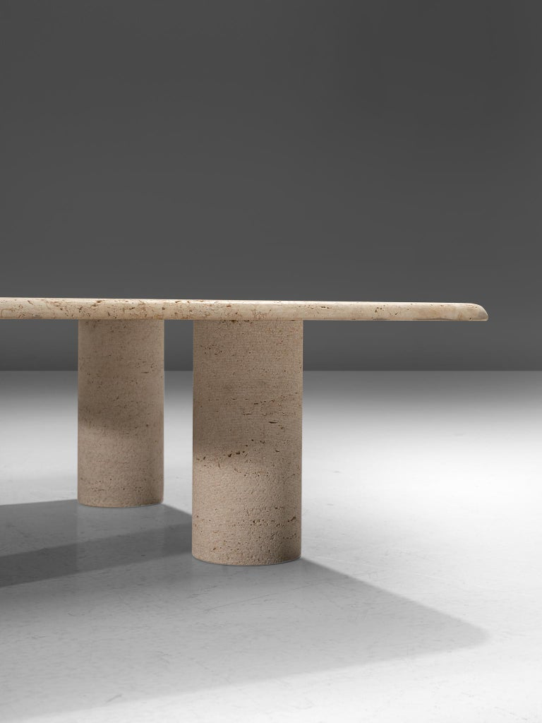 Late 20th Century Angelo Mangiarotti Travertine Coffee Table for Up & Up For Sale