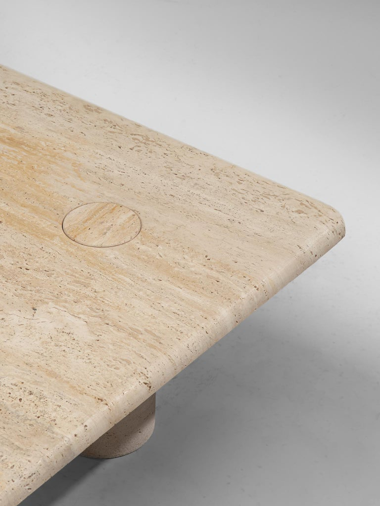 Angelo Mangiarotti Travertine Coffee Table for Up & Up For Sale 1