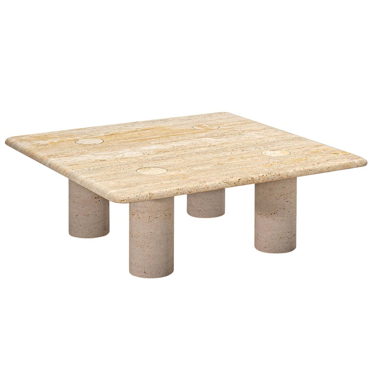 Angelo Mangiarotti Travertine Coffee Table for Up & Up For Sale
