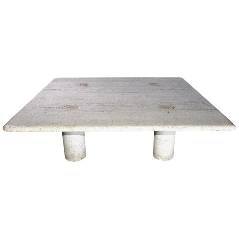 Angelo Mangiarotti Travertine Coffee Table for Up&UP For Sale