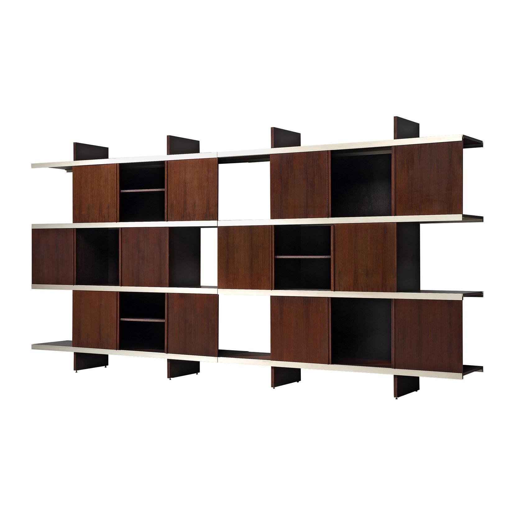 Angelo Mangiarotti Wall Unit in Wood and Aluminium
