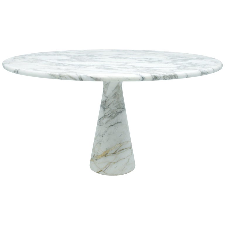 Angelo Mangiarotti White and Grey Marble Dining Table M1 Skipper, 1969 For Sale