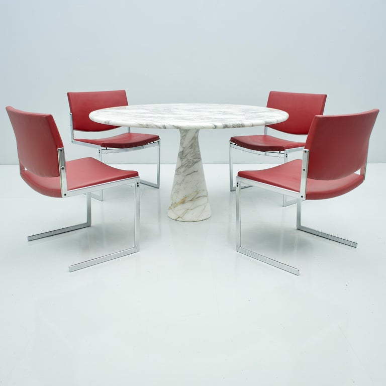 Angelo Mangiarotti White and Grey Marble Dining Table M1 Skipper, 1969 For Sale 3