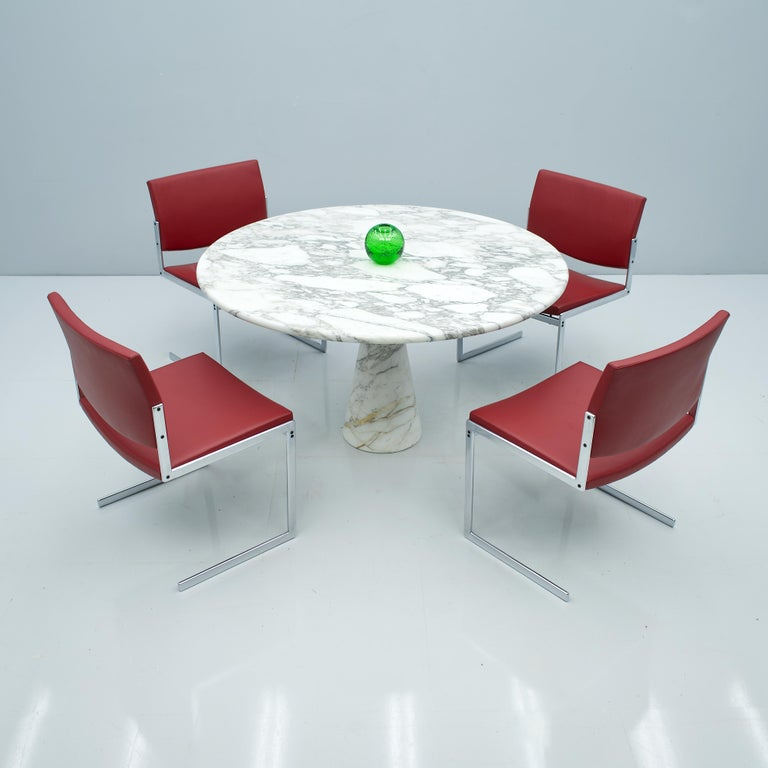 Angelo Mangiarotti White and Grey Marble Dining Table M1 Skipper, 1969 For Sale 4