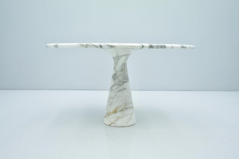 Mid-Century Modern Angelo Mangiarotti White and Grey Marble Dining Table M1 Skipper, 1969 For Sale