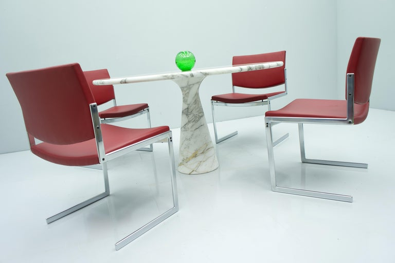 Angelo Mangiarotti White and Grey Marble Dining Table M1 Skipper, 1969 For Sale 1