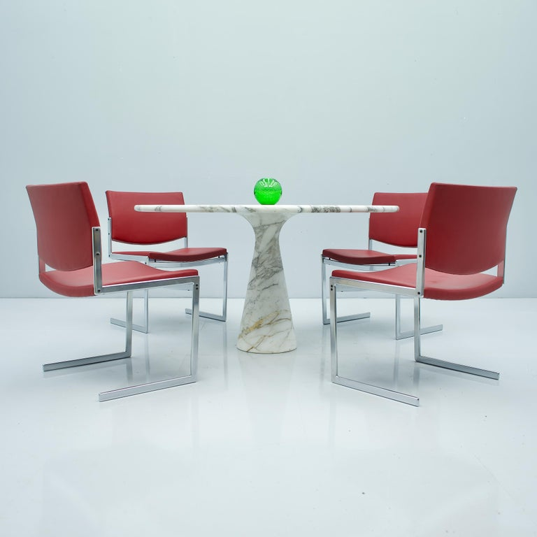 Angelo Mangiarotti White and Grey Marble Dining Table M1 Skipper, 1969 For Sale 2