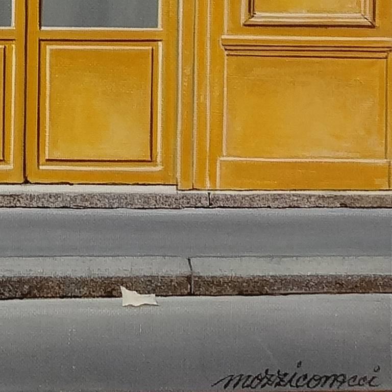 Bar – Hotel - Realist Painting by Angelo Mozziconacci