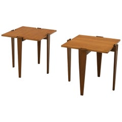 Angelo Ostuni Midcentury Pair of Wood Combinable Side Tables for Frangi, 1957