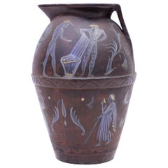Angelo Ricceri, Large Painted Terracotta Urn / Olive Jar, Early 20th Century