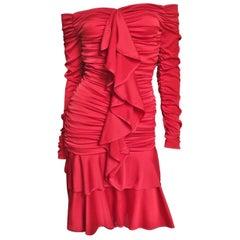 Angelo Tarlazzi Off Shoulder Ruched Silk Dress 1990s