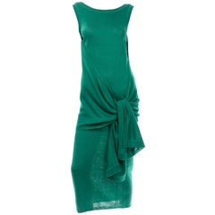 Angelo Tarlazzi Paris Vintage Emerald Green Stretch Knit Dress W Drape Wrap