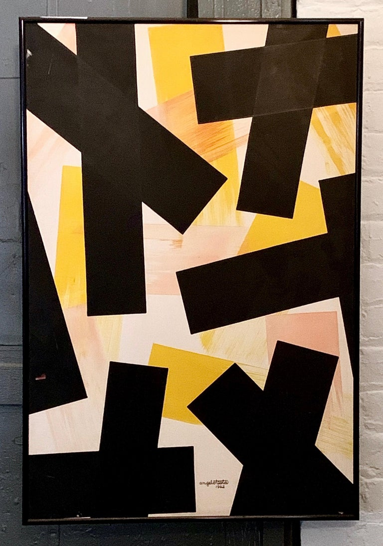 Mid-Century Modern Angelo Testa Abstract Marigold and Black Hard-Edge Color Field Painting, 1962 For Sale
