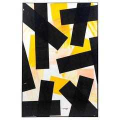 Angelo Testa Abstract Marigold and Black Hard-Edge Color Field Painting, 1962