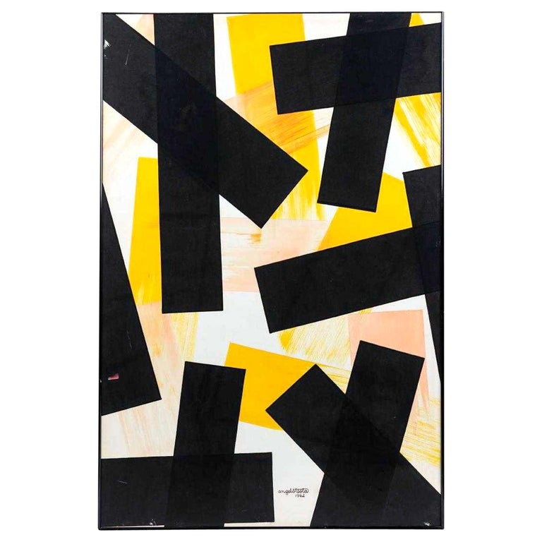 Angelo Testa Abstract Marigold and Black Hard-Edge Color Field Painting, 1962 For Sale