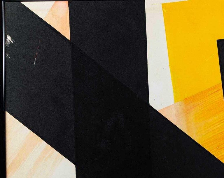 American Angelo Testa Abstract Marigold and Black Hard-Edge Color Field Painting, 1962 For Sale