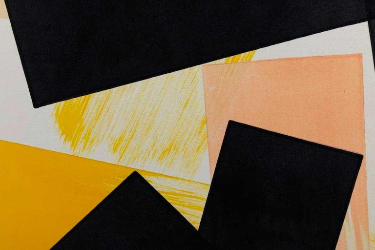 Angelo Testa Abstract Marigold and Black Hard-Edge Color Field Painting, 1962 In Good Condition For Sale In Brooklyn, NY