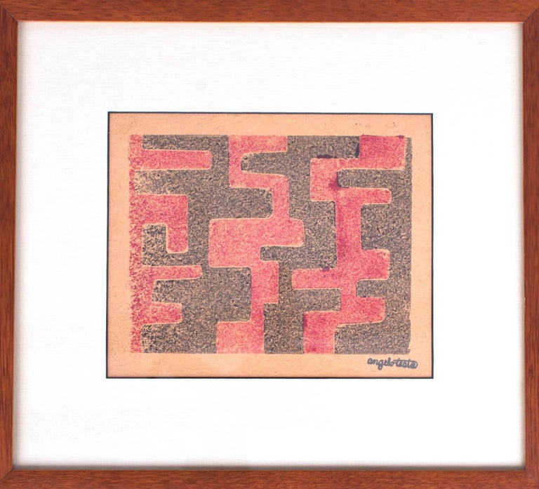 Mid-Century Modern Angelo Testa: Pair of Signed Geometric Abstract Prints in Red and Yellow, 1950's For Sale