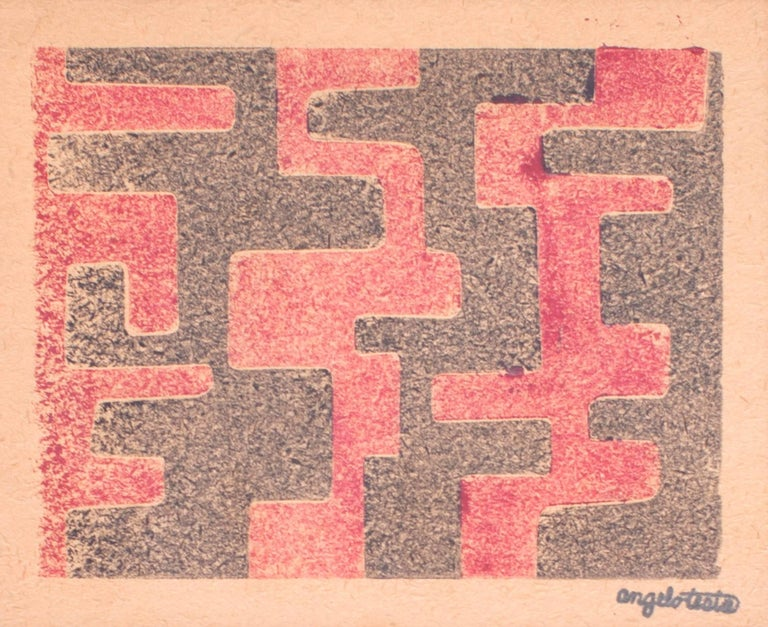 American Angelo Testa: Pair of Signed Geometric Abstract Prints in Red and Yellow, 1950's For Sale