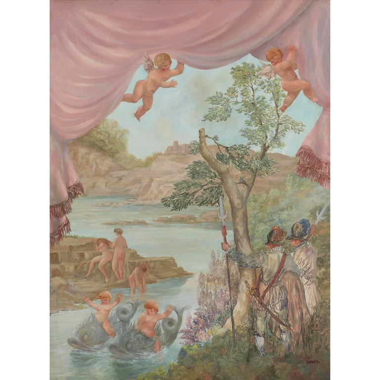 Cavaliers Watching Bathing Nymphs, large oil on canvas painting by Fabretto - Painting by Angelo Urbani del Fabbretto
