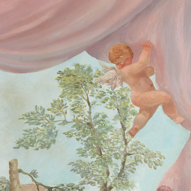 Measuring nearly two metres in height, this fantastic large painting will be an excellent addition to a large, grand interior space. It is the work of the Italian painter Angelo Urbani del Fabbretto, active early 20th Century, and depicts a
