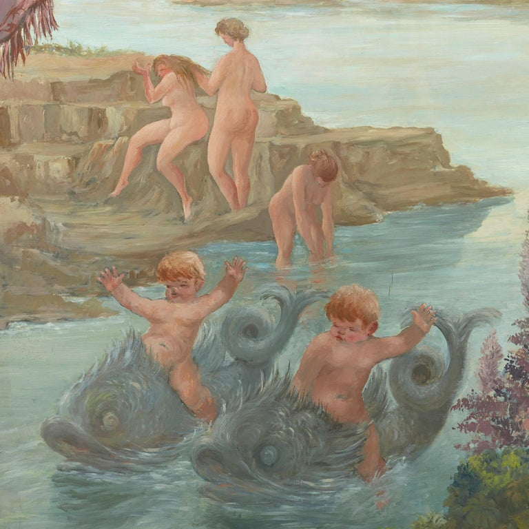 Cavaliers Watching Bathing Nymphs, large oil on canvas painting by Fabretto For Sale 3