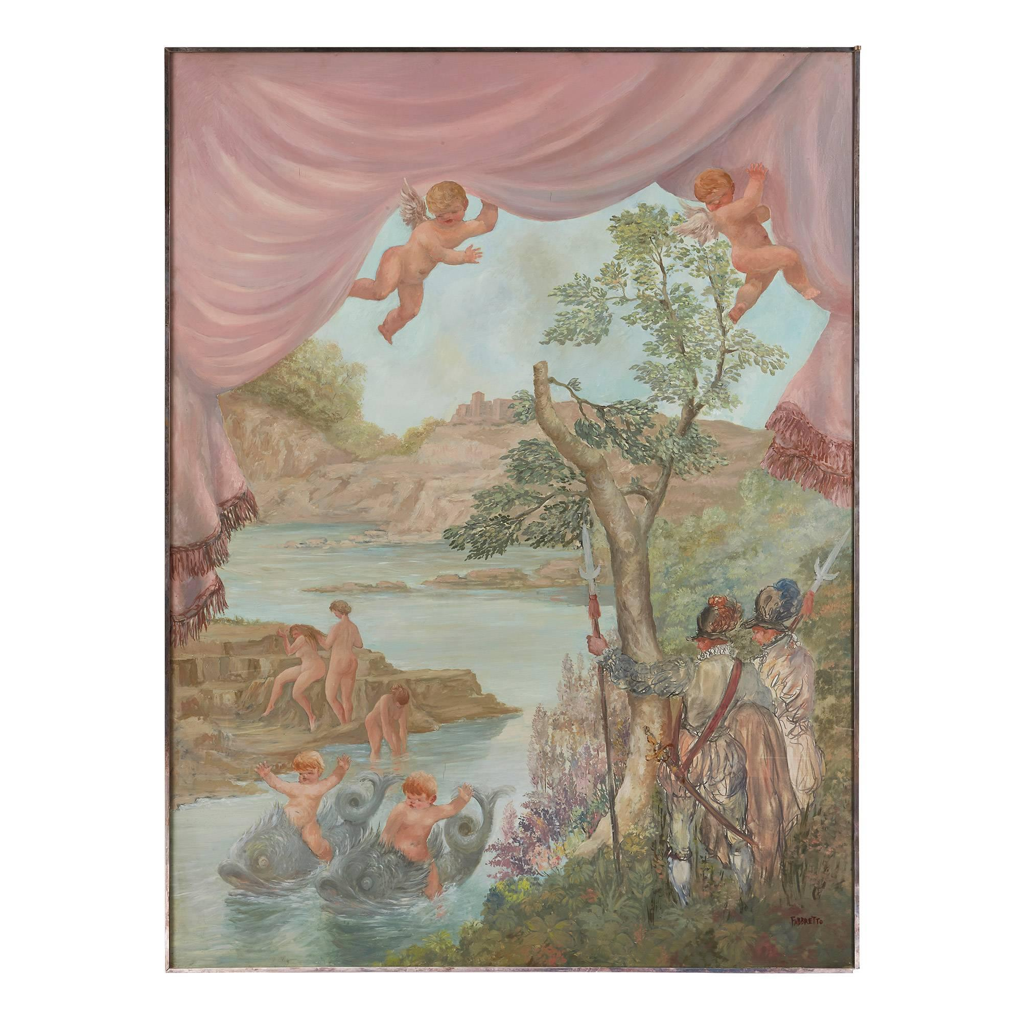 Cavaliers Watching Bathing Nymphs, large oil on canvas painting by Fabretto