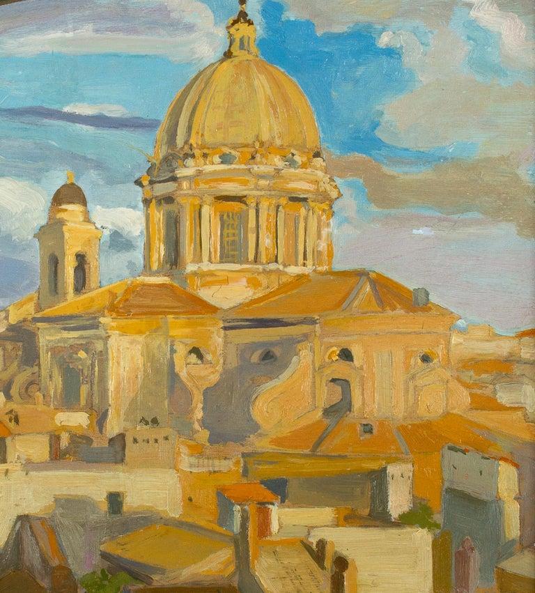View of Church of the Fiorentini - Oil on Canvas by A. Urbano del Fabbretto - Modern Painting by Angelo Urbani del Fabbretto