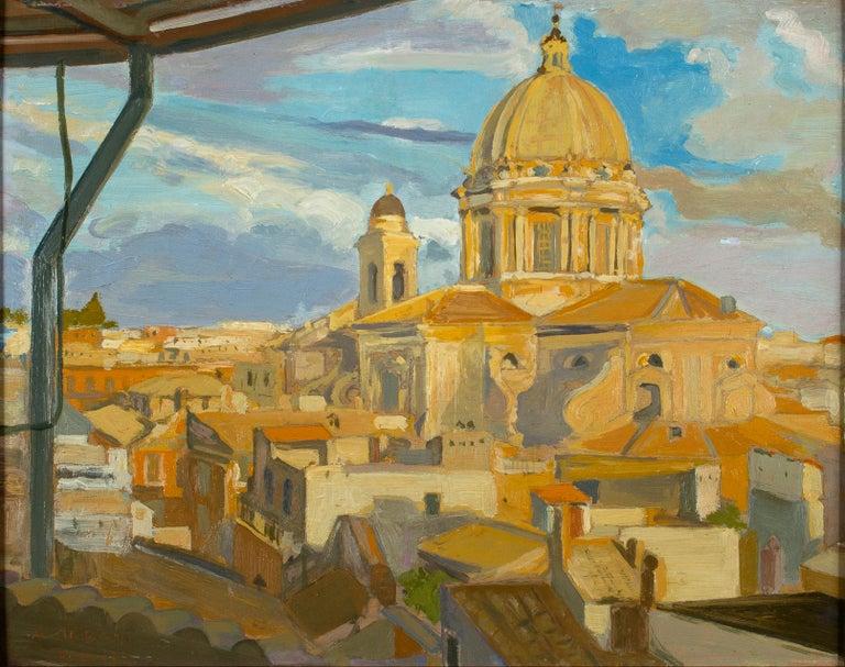 Angelo Urbani del Fabbretto Figurative Painting - View of Church of the Fiorentini - Oil on Canvas by A. Urbano del Fabbretto
