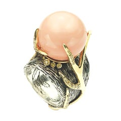Angelskin Coral Ring in Sterling Silver, 18 Karat Gold Antlers and Diamonds